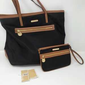 "Michael Kors ""Kempton"" Tote and Wristlet (Black)"